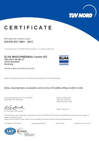 Certificate - DIN EN ISO 14001:2015