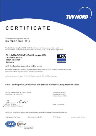 Certificate - DIN EN ISO 9001:2015