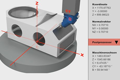 Preview - Sloping surface machining with HV milling head, fixed B-axis