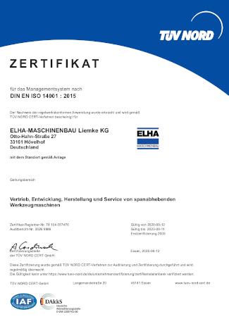 Zertifikat - DIN EN ISO 14001:2015