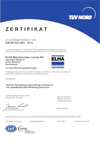 Zertifikat - DIN EN ISO 9001:2015
